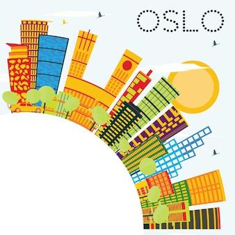 컬러 건물, 푸른 하늘 및 복사 공간이 있는 오슬로 스카이라인. 벡터 일러스트 레이 션. 현대 건축과 비즈니스 여행 및 관광 개념입니다. 프레젠테이션 배너 현수막 및 웹사이트용 이미지.