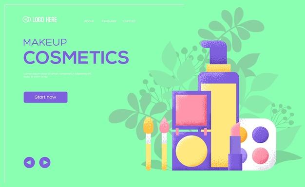 Флаер с концепцией косметики, веб-баннер, заголовок пользовательского интерфейса, введите сайт. текстура зерна и шумовой эффект.