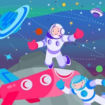 宇宙空間のオスモノート、ベクトルイラスト。漫画の宇宙飛行士の男のキャラクターが銀河、宇宙、ヘルメットの宇宙飛行士が探検のために飛ぶ