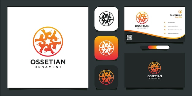 Ossetian ornament logo design with business card