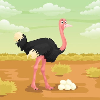 Ostrich cartoon in the savanna