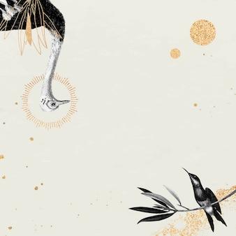 Ostrich and hummingbird pattern on beige background
