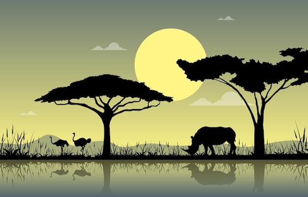 타조 코뿔소 오아시스 동물 사바나 풍경 아프리카 야생 동물 그림
