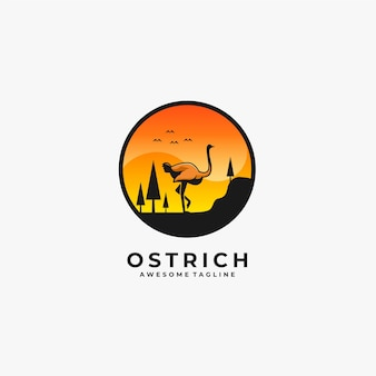 Ostrich walking landscape illustration.