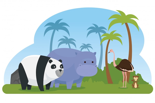 Страус с пандой и бегемотом диких животных