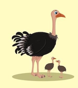두 아기 만화 일러스트 디자인 타조
