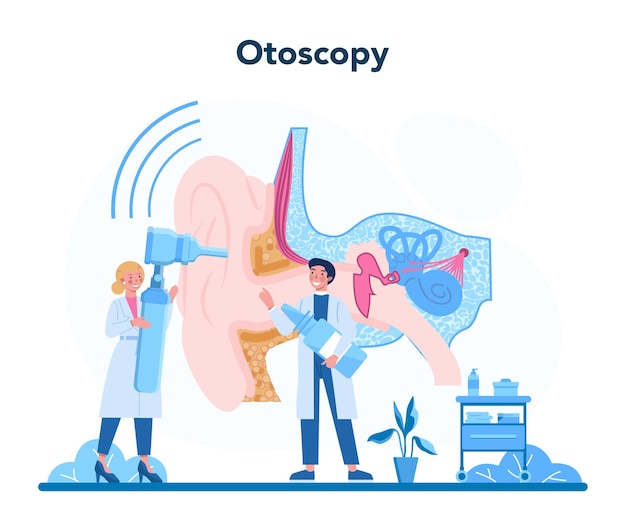 Otorhinolaryngologist concept. healthcare concept, idea of ent doctor caring about patient health. otoscopy treatment.
