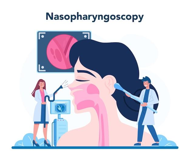 漫画風の耳鼻咽喉科医の概念図
