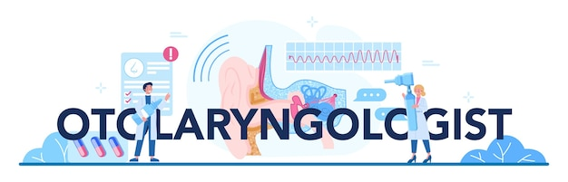 Otorhinolaryngologist typographic header. healthcare concept, idea of ent doctor caring about patient health.