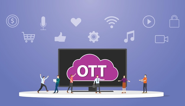 Ott over the top platform service concept with people around smart tv modern flat style vector illustration