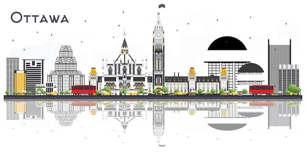 灰色の建物と白い背景で隔離の反射とオタワカナダの街のスカイライン。ベクトルイラスト。近代的な建物と観光の概念。ランドマークのあるオタワの街並み。