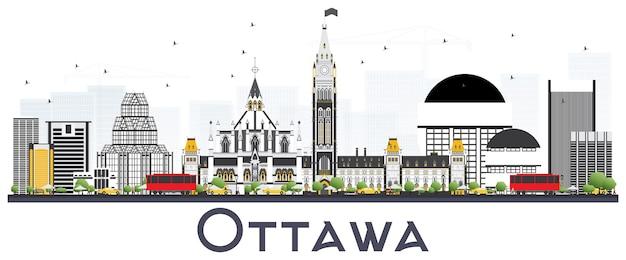 白い背景で隔離の灰色の建物とオタワカナダの街のスカイライン。ベクトルイラスト。近代的な建物とビジネス旅行と観光の概念。ランドマークのあるオタワの街並み。