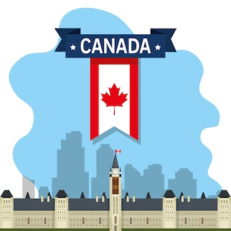 Ottawa canada cityscape scene vector illustration design