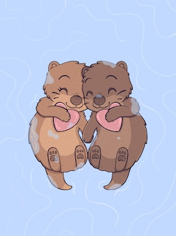 Otter couple in love floating and holding their hands