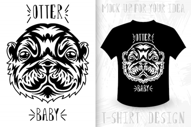 Otter face.  t-shirt print in vintage monochrome style.