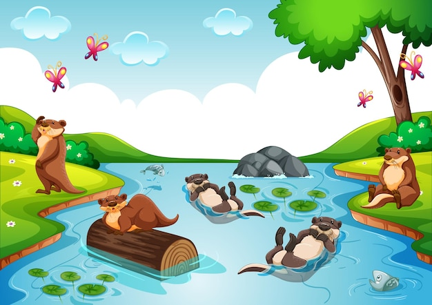Otter group in the forest scene