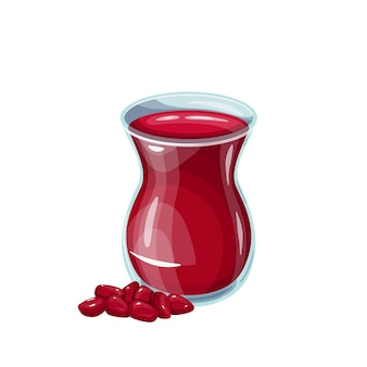 Ottoman drink pomegranate sherbet in glass. healthy and delicious ramadan drink. turkish fruit drink vector illustration.