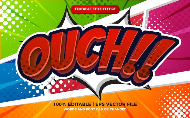 Ouch comic cartoon text effect on halftone comic background