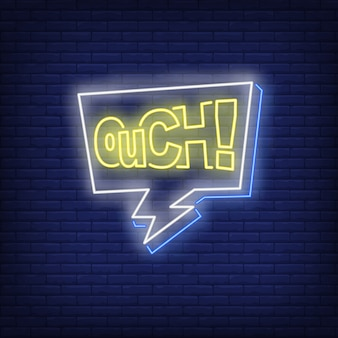 Ouch lettering neon sign