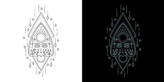 Геометрический дизайн татуировки на доске для спиритических сеансов