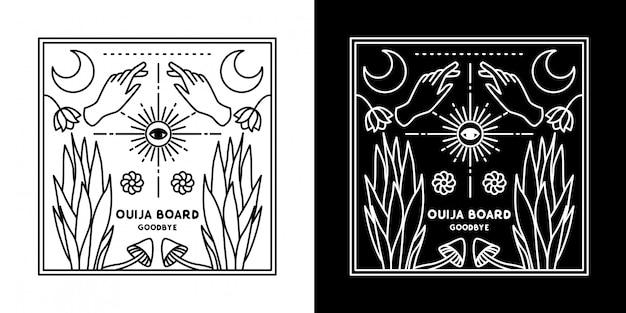 ウイジャボード手と植物モノラインデザイン