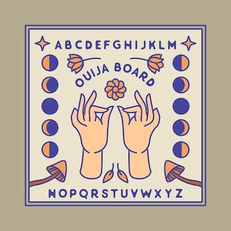 Дизайн значка монолинии руки доски ouija