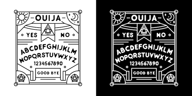 Ouija board monoline badge, with black and white color