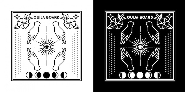 Ouija board with four hand moon monoline design
