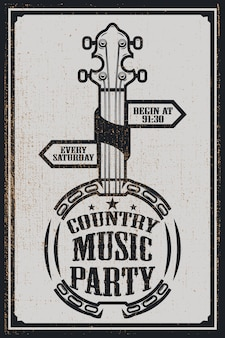 Ð¡ountry music party poster template. vintage banjo on grunge background.  illustration