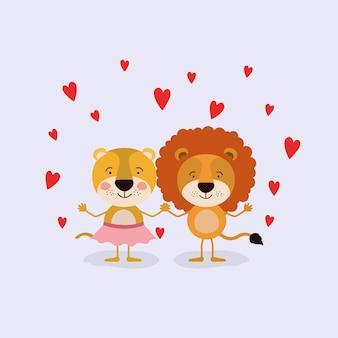 Щенок львицы и лев в любви, держась за руки