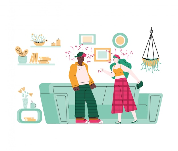 Ð¡ouple quarreling and family conflict,  cartoon  illustration