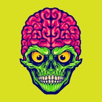 私たちの頭脳の頭蓋骨のマスコットのロゴあなたの仕事のロゴ、マスコット商品のtシャツ、ステッカーとラベルのデザイン、ポスター、企業やブランドを宣伝するグリーティングカードのベクトルイラスト。