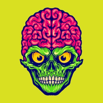 Our brains skull mascot logo vector illustrations for your work logo, mascot merchandise t-shirt, stickers and label designs, poster, greeting cards advertising business company or brands.