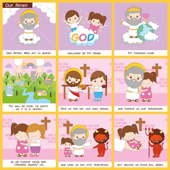 Our father prayer with christian and sermons illustrations set