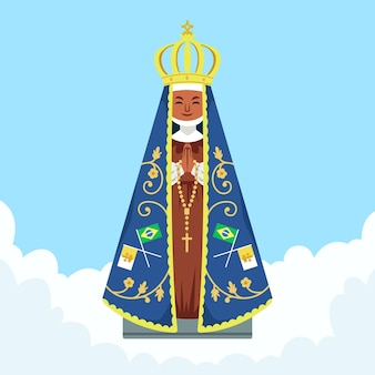 アパレシーダの聖母フラットデザイン