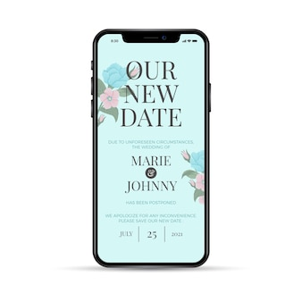 Our new date postponed wedding phone app