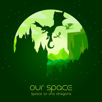 Our space - space of the dragons illustration