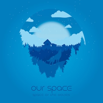 Our space - space of the wolves illustration