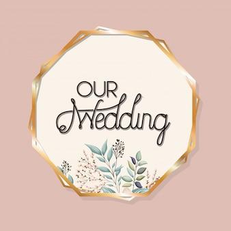葉と金の円で囲んだ結婚式のテキスト