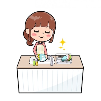 Out line apron mom cook dishwash