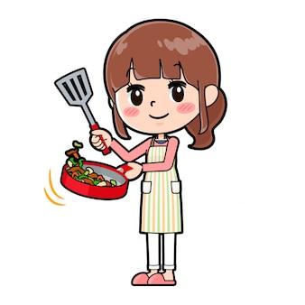 Out line apron mom cook stir fried