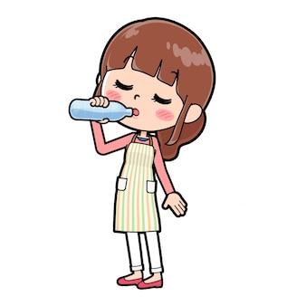 아웃 라인 에이프런 mom_drinking-water