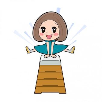 아웃 라인 밥 헤어 드레스 여자 점프 상자