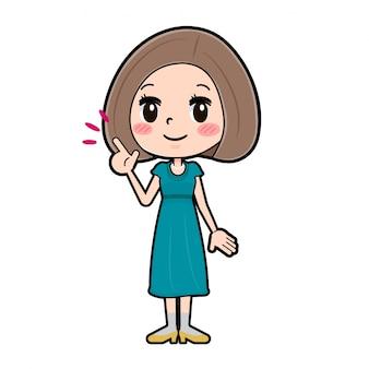 Out line платье для волос боб women_finger указывая