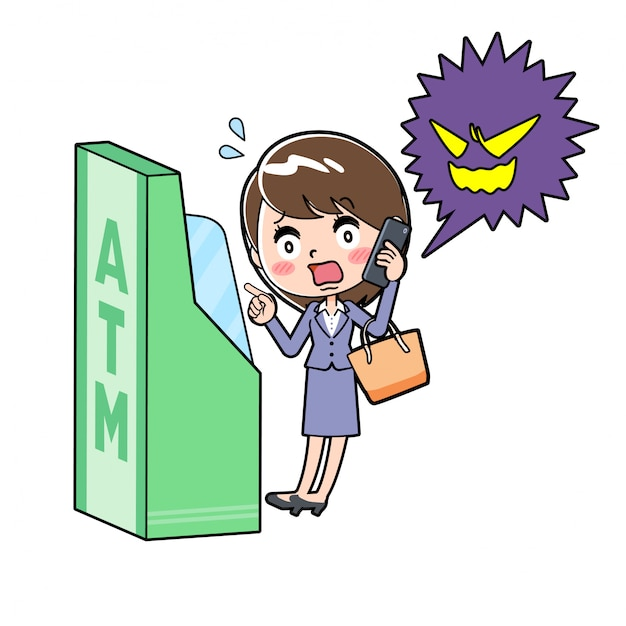 Out line business woman atm scam