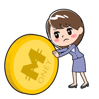 Out line business woman coin push