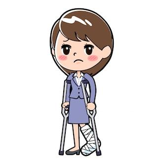 Out line бизнес женщина перелом ноги