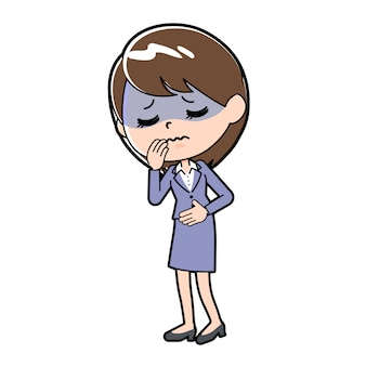 Out line business woman sick condition