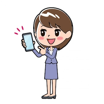 Out line business woman smartphone point
