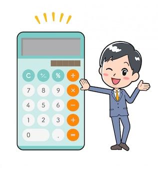 Out line businessman calculator brag